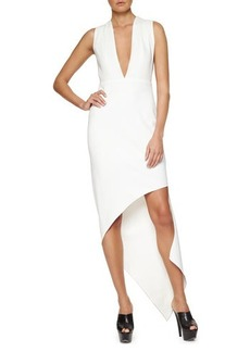 Narciso Rodriguez Plunging Asymmetric Crepe Dress  Plunging Asymmetric Crepe Dress