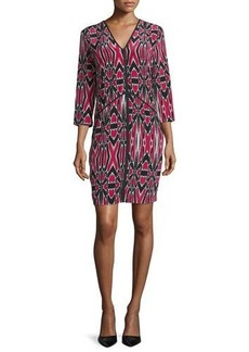 Natori Abstract-Print Silk Dress