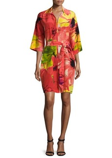 Natori Island Floral Belted Dress