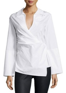 Natori Long-Sleeve Wrap Blouse