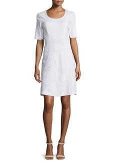 Natori Short-Sleeve Embroidered Dress