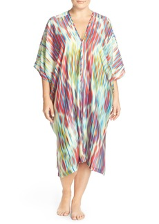Natori 'Waterfall' Print Satin Caftan (Plus Size)