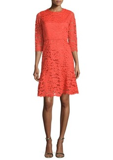 Shoshanna 3/4-Sleeve Jewel-Neck Lace Dress