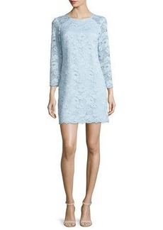 Shoshanna 3/4-Sleeve Lace Shift Dress