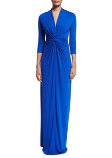 Shoshanna 3/4-Sleeve Twist-Front Column Gown
