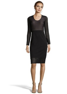 Shoshanna black stretch ponte and mesh lon...
