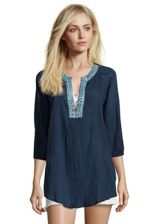 Shoshanna blue cotton beaded embroidered '...