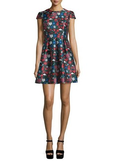Shoshanna Cap-Sleeve Floral-Print Mini Dress