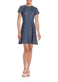 SHOSHANNA Denim Eyelet Fit and Flare Dress