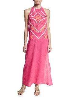 Shoshanna Embroidered-Front Halter Maxi Dress  Embroidered-Front Halter Maxi Dress
