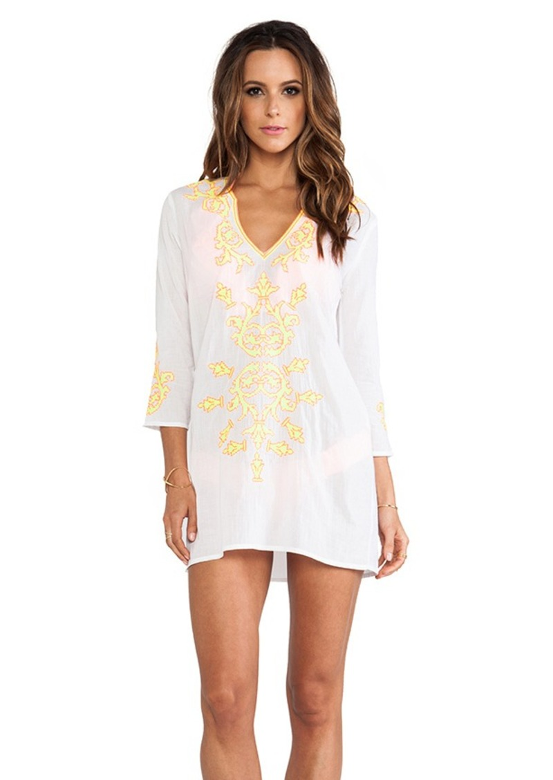 Shoshanna Embroidered V-Notch Tunic in White