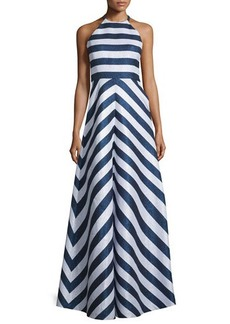 Shoshanna Halter-Neck Striped Two-Tone Gown