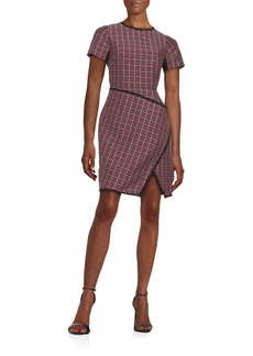 Shoshanna Katya Plaid Jacquard Crossover Sheath
