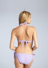 Shoshanna lilac nylon side tie bikini bottom