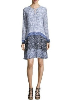Shoshanna Long-Sleeve Tie-Neck Floral-Print Silk Dress