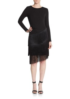 Shoshanna MIDNIGHT Tiered Fringe Dress