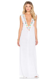 Shoshanna Mixed Media Embroidered Maxi Dress