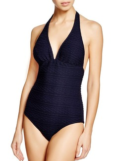 Shoshanna Navy Cable One Piece Swimsuit