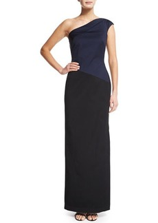 Shoshanna One-Shoulder Colorblock Satin Gown  One-Shoulder Colorblock Satin Gown