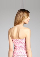 Shoshanna pink and orange chevron ring detailed halter tankini top