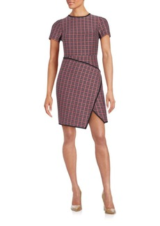 Shoshanna Plaid Faux-Wrap Dress