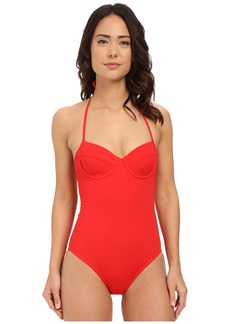 Shoshanna Red Solid Lattice Back One-Piece