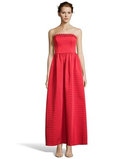 Shoshanna red twill beaded strapless fit a...