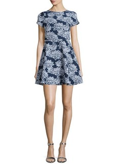 Shoshanna Short-Sleeve Floral-Print Party Dress