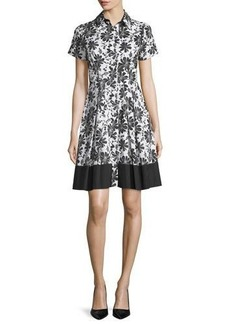 Shoshanna Short-Sleeve Floral-Print Shirtdress