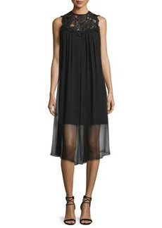 Shoshanna Sleeveless Dress W/ Sheer Overlay  Sleeveless Dress W/ Sheer Overlay