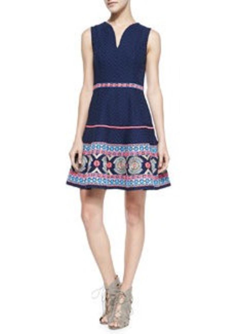 Shoshanna Sleeveless Embroidered-Hem Dress