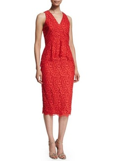 Shoshanna Sleeveless Lace Peplum Cocktail Dress  Sleeveless Lace Peplum Cocktail Dress