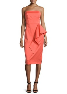 Shoshanna Strapless Ruffle-Front Sheath Dress  Strapless Ruffle-Front Sheath Dress