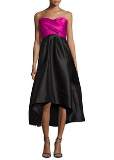 Shoshanna Strapless Sweetheart Colorblock High-Low Dress