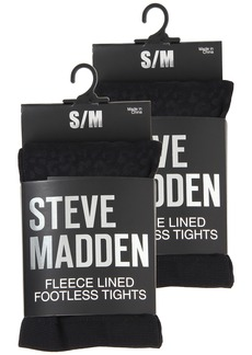 Steve Madden 2 Pack Fleece Solid and Leopard Footless Tight