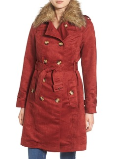 Steve Madden Faux Suede Trench Coat with Faux Fur Collar