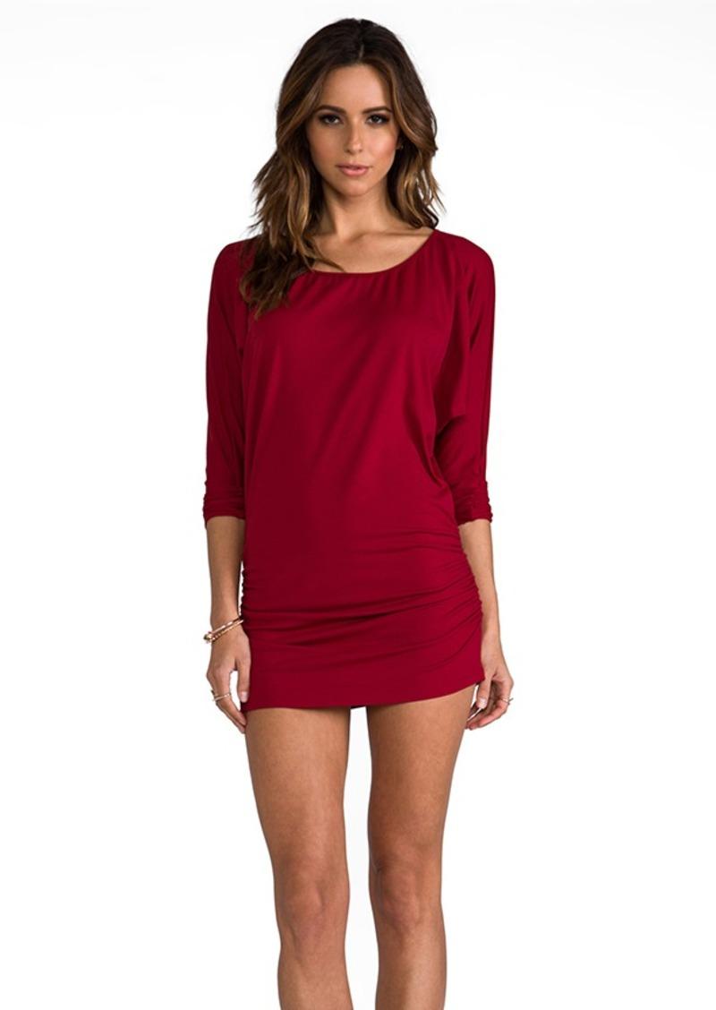 "Susana Monaco Light Supplex Kimono Gather 14"" Dress in Red"