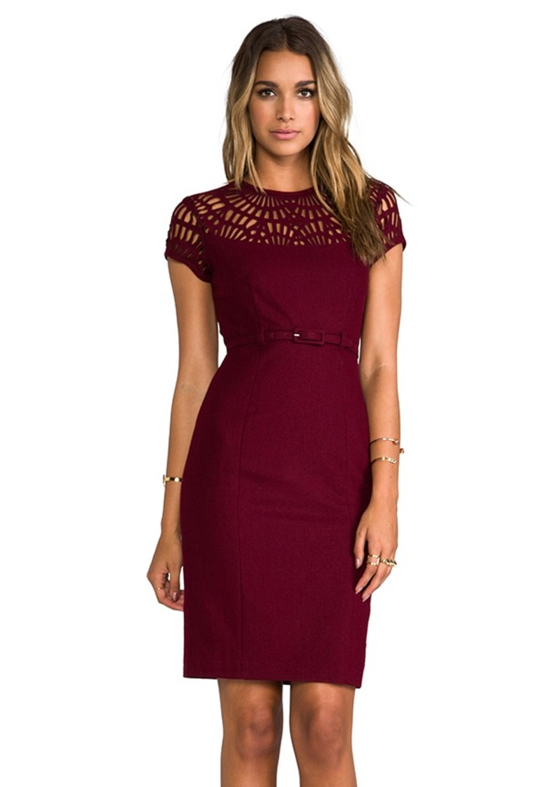 "Susana Monaco Novelty Laser Cut Wool Lily 25"" Dress in Wine"