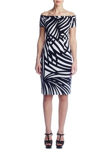 SUSANA MONACO Printed Off-The-Shoulder Bodycon Dress