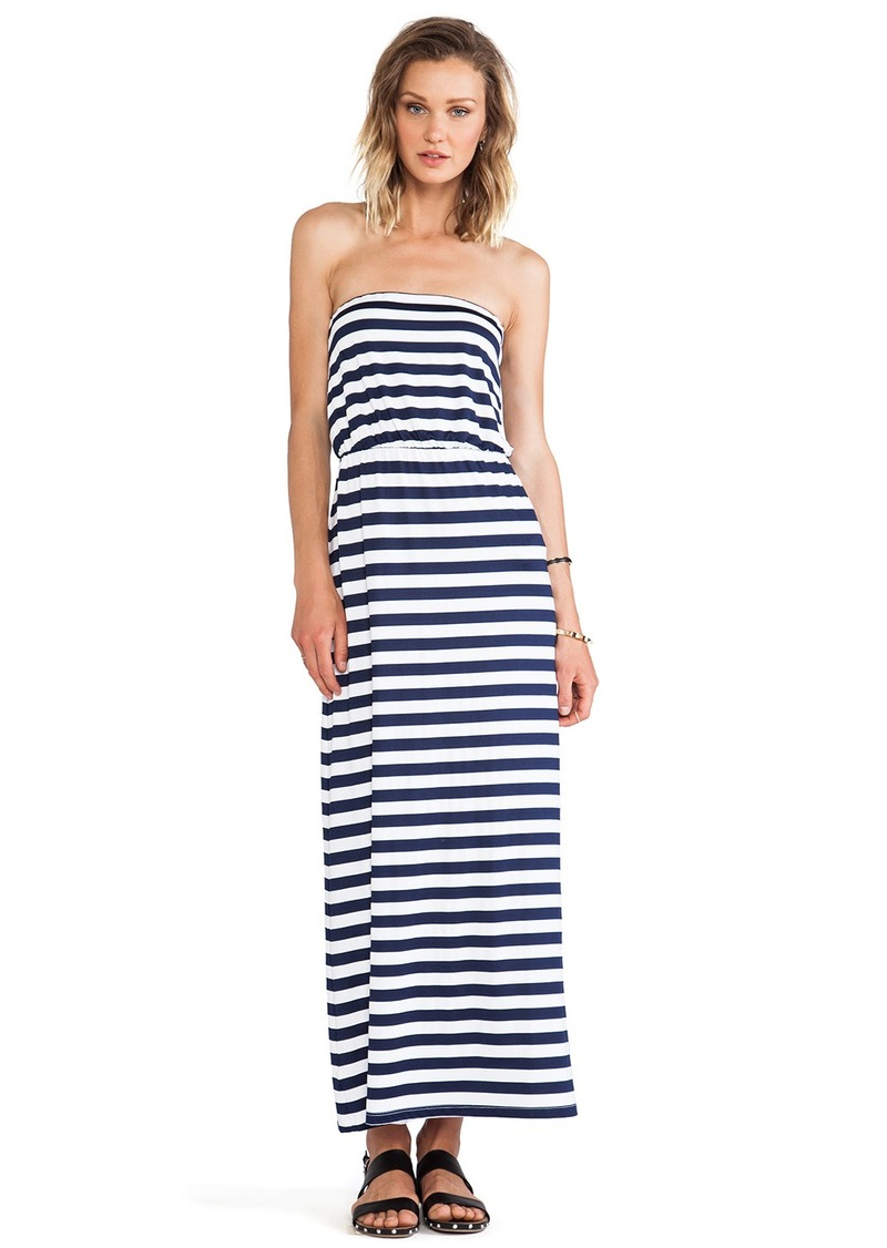 Susana Monaco Striped Blouson Strapless Dress