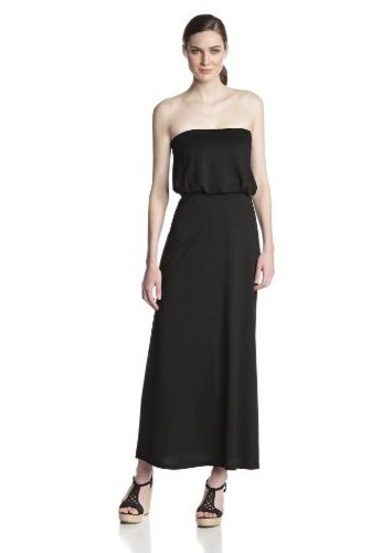 Susana Monaco Women's Light Supplex 40 Inch Blouson Tube Maxi Dress, Black, X-Small