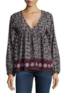 T Bags Long-Sleeve Mosaic-Print Blouse