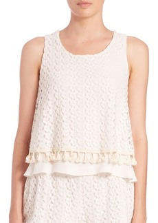 T-bags Los Angeles Lace Tank with Tassles