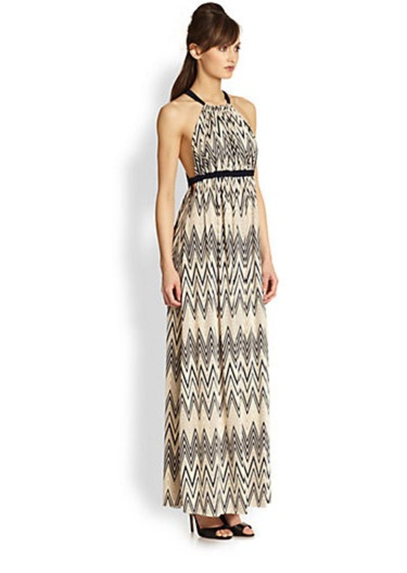 T-bags Los Angeles Zigzag-Print Halter Maxi Dress