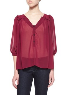 T Bags Sheer Chiffon Button-Front Blouse