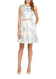 TAHARI ARTHUR S. LEVINE Belted Waist Fit And Flare Dress