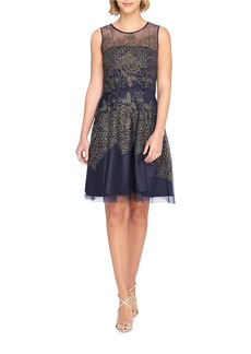 TAHARI ARTHUR S. LEVINE Embroidered Mesh Fit-and-Flare Dress