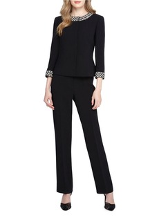 TAHARI ARTHUR S. LEVINE Jacket and Pant Suit with Pearl Beaded Trim