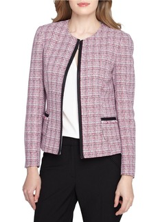 TAHARI ARTHUR S. LEVINE Jewelneck Open Front Tweed Jacket