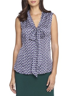 TAHARI ARTHUR S. LEVINE Low Bow Sleeveless Printed Woven Top